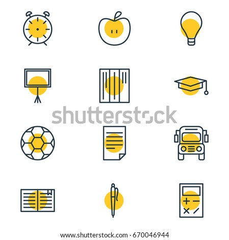Vector Illustration Of 12 Education Icons. Editable Pack Of Calculate, Car, Cap And Other Elements.