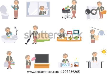 Vector illustration of elderly woman doing housework Stock photo ©