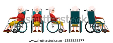 Vector illustration of elderly woman sitting in a wheelchair. Cartoon realistic people. Flat woman. Front, side and back views. Isometric view. Grandmother, happy old people with physical disability.