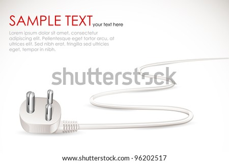 vector illustration of electric plug with cable