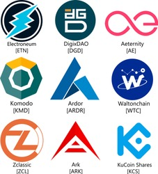 Vector Illustration Of Electroneum, DigixDAO, Aeternity, KOMODO, Ardor, Waltonchain, Zclassix, Ark, KuCoin Shares Cryptocurrency Coin / Virtual Money Icon / Logotype Set / Collection In Color