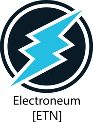 Vector Illustration Of Electroneum ETN Cryptocurrency Coin / Virtual Money Icon / Logotype In Color