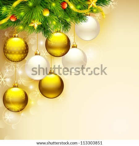 vector illustration of elegant Christmas background with baubles