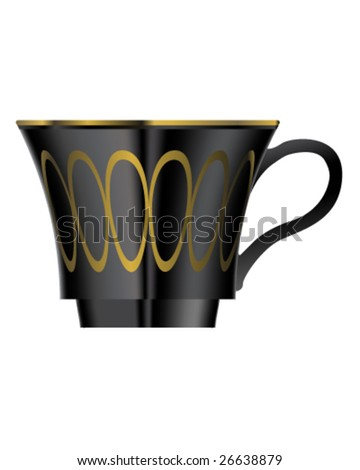 Vector illustration of elegant coffee or teacup in black and gold