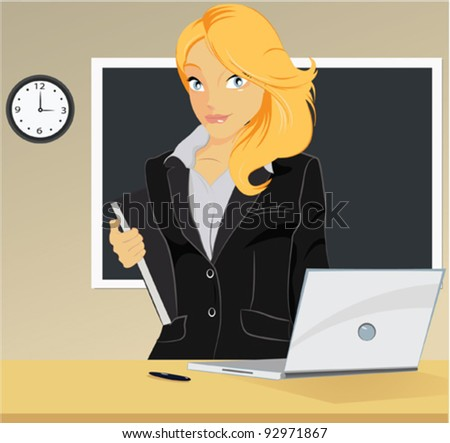 Vector illustration of elegant young business woman or Young teacher