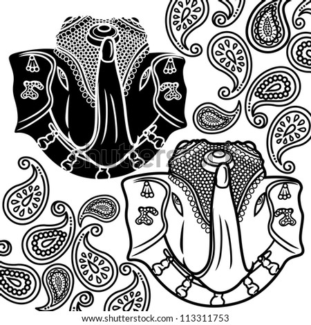 vector illustration of elephant amp paisley print design