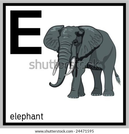 "Vector illustration of elephant and english letter ""E"". Does not contain any effects like gradients, blends and so on. File format EPS (AI8 compatible)."