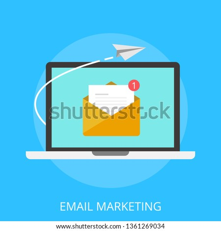 """Vector illustration of email marketing & communication concept with """"email marketing"""" digital advertising and media sign."""