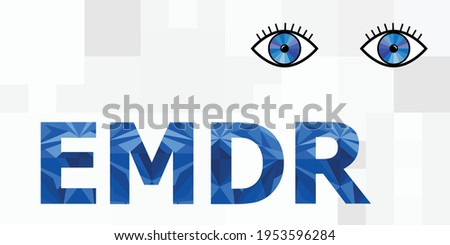 vector illustration of EMDR and eye movement desensitization and reprocessing technology title Foto stock ©