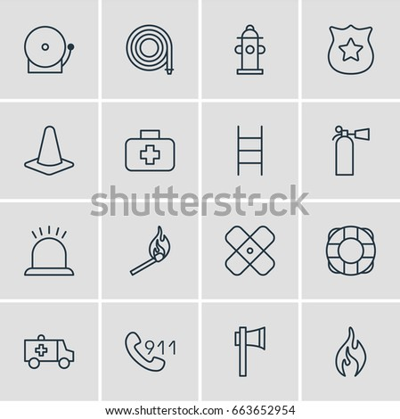 Vector Illustration Of 16 Emergency Icons. Editable Pack Of Stairs, Safety, Lifesaver And Other Elements.