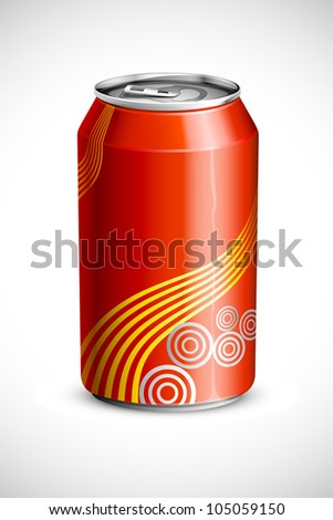 vector illustration of empty cold drink can against abstract background