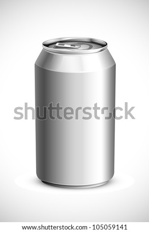 vector illustration of empty drink can against white background