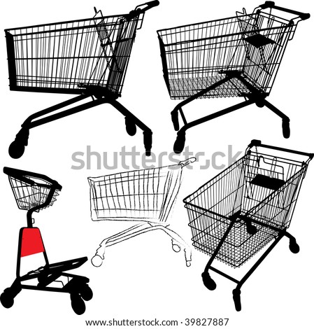 Vector illustration of empty shopping trolley silhouettes