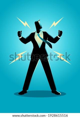 Vector illustration of energized businessman, confidence, optimism concept Foto stock ©