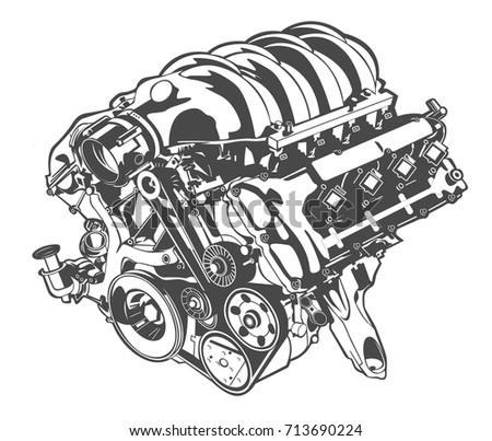 vector illustration of engine