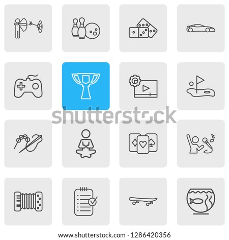 Vector illustration of 16 entertainment icons line style. Editable set of golf, accordion, game console and other icon elements.