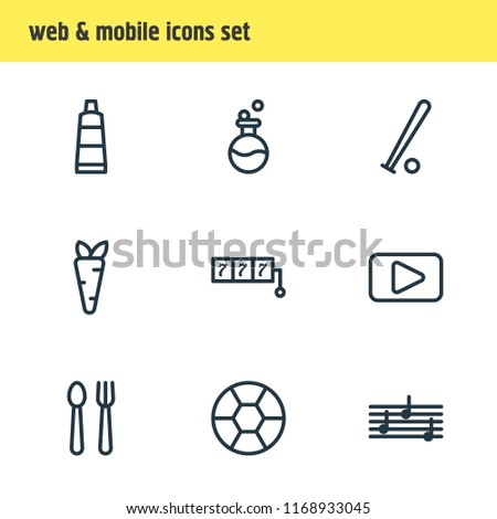 Vector illustration of 9 entertainment icons line style. Editable set of melody, flask, football and other icon elements.