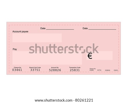 Vector illustration of euro check with space for your own text, vector illustration