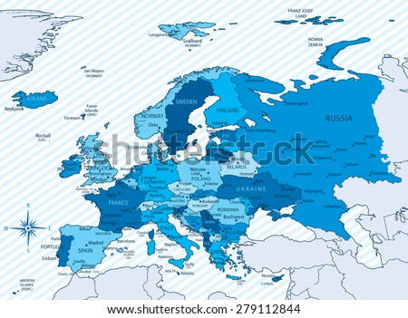 Eastern europe map vector download free vector art stock vector illustration of europe map with countries in blue color each country has its capital gumiabroncs Image collections