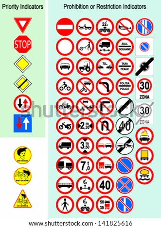 Vector illustration of european traffic signs.