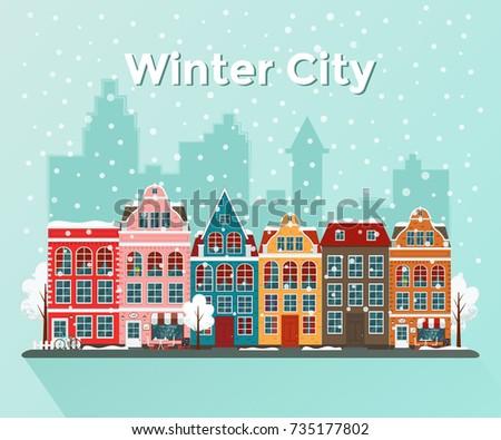 Vector illustration of european winter town. Flat design. Old houses