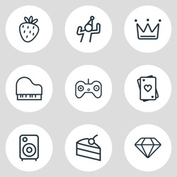 Vector illustration of 9 event icons line style. Editable set of diamond, dancing man, loudspeaker and other icon elements.