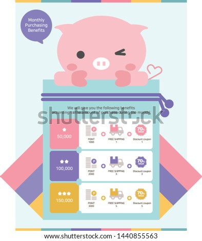 Vector illustration of event popup for Pig, luck, pig tail, heart, Blessed pocket, blessing, auspice, event, discount, banner, Oriental, Korean, Oriental tradition, Hanbok, speech bubble, knot.