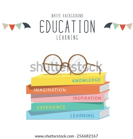 Vector Illustration of eyeglasses on top stack books.