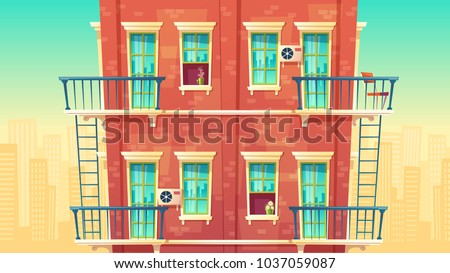 Vector illustration of facade residential multi-storey apartment, house outside concept, private building with fire escapes. Architecture in cartoon style. Advertising, promotion background.