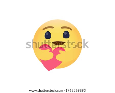 Vector illustration of facebook care emoji hugging face hold red love care of Covid-19