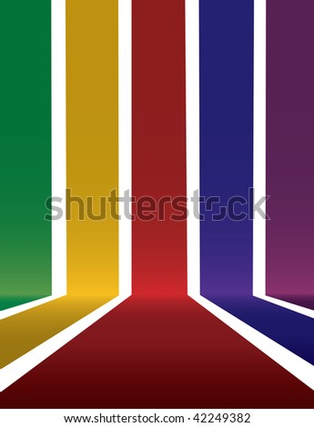 Vector illustration of falling stripes that form a 3d space. Room for your image or text.