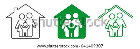 Vector illustration of family icon inside the house