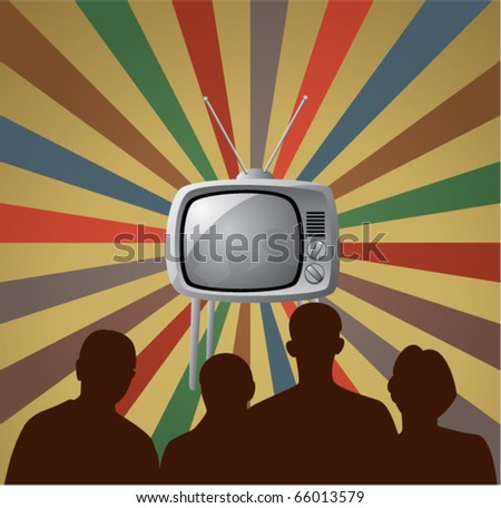 vector illustration of family watching retro tv set
