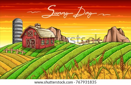 vector illustration of farm scenery at sunny day with barn silo fence rock green grass wheat field