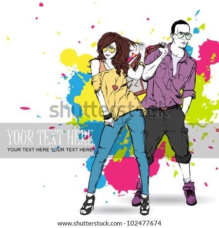 Vector illustration of fashion girl and stylish guy in sketch style . Place for your text.