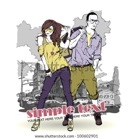Vector illustration of fashion girl and stylish guy on a street-background . Place for your text.