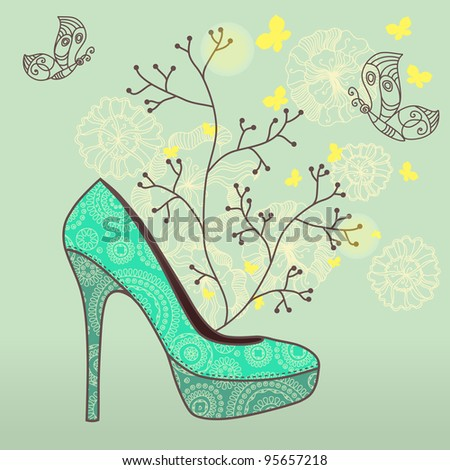 vector illustration of fashion shoes with abstract plants decor