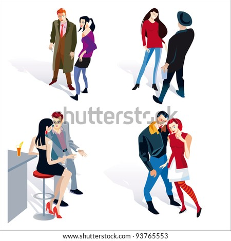 Vector illustration of fashion young people. four young boy and girl couples. White background.