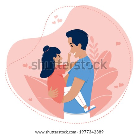 Vector illustration of father and daughter. Dad and daughter. Happy Father's day. Dad holding his daughter. Dad and baby girl.