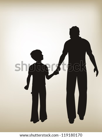 vector illustration of Father and Son Holding Hands with a gradient mesh vintage shaded background./ Father and Son Holding Hands