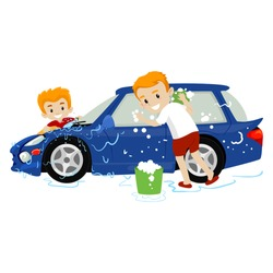 Vector Illustration of Father and Son washing the Car