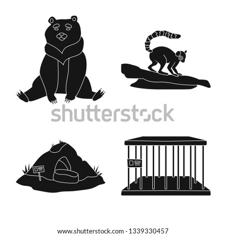 Vector illustration of fauna and entertainment logo. Collection of fauna and park vector icon for stock.