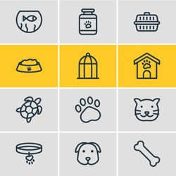Vector illustration of 12 fauna icons line style. Editable set of kennel, turtle, pet medicine and other icon elements.