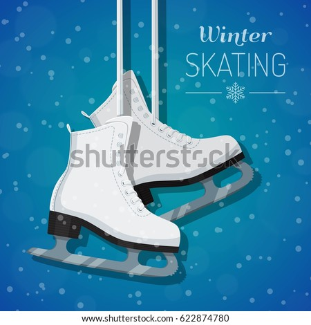 Vector illustration of female white figure ice skates hanging on laces. Winter holidays card. Winter background with snowflakes. Flat style design.