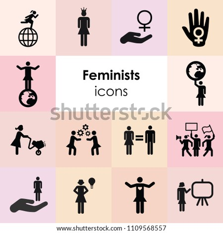 vector illustration of feminism symbols and women power icons