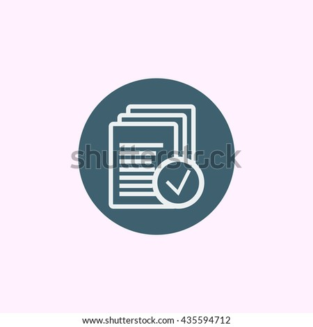 Vector illustration of files accept sign icon on blue circle background. #435594712