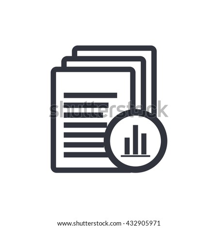 Vector illustration of files stats icon. Isolated Report Files Stats Icon On Clean Background. Premium quality stats report icon vector illustration.