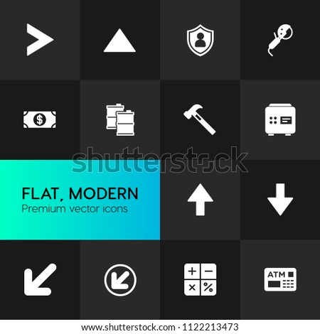 Vector illustration of fill icons for business, industry, arrows on dark background. Set includes  dollar,  construction,  repair,  petroleum,  arrow,  business,  work modern flat and material icons.