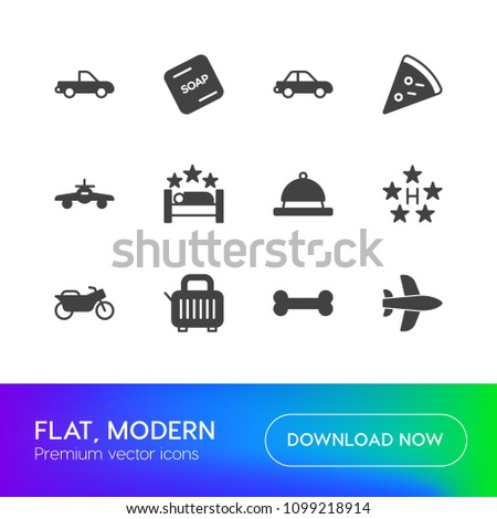 Vector illustration of fill icons for transports, food, hotel on white background. Set includes  toast, bone,  soap,  anatomy, pizza, car,  aircraft, solid,  travel modern flat and material icons.