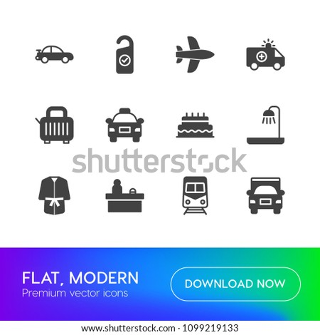 Vector illustration of fill icons for transports, food, hotel on white background. Set includes  birthday,  sweet,  office, bathroom,  shower,  party,  white,  aircraft modern flat and material icons. #1099219133